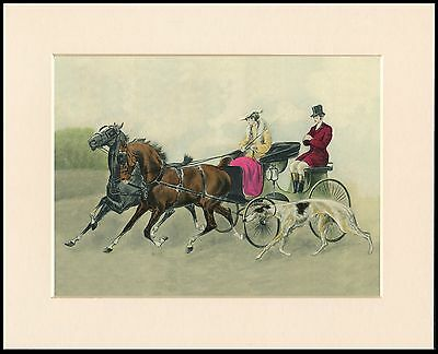 Borzoi Horse And Carriage Charming Period Style Dog Print Mounted Ready To Frame
