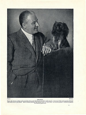Pekingese Famous Tenor And His Dog Old Original 1934 Dog Print