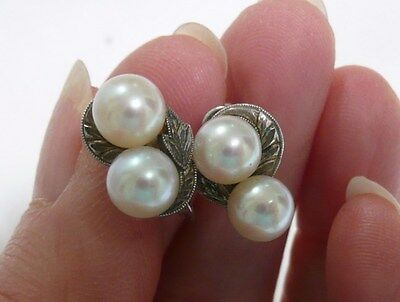 Vintage Mikimoto Pearl Earrings Signed Sterling Silver Back Style