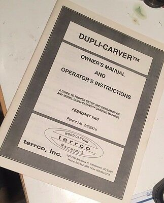 dupli-carver operating use instructions manual Terrco Spindle carver 1997 ed