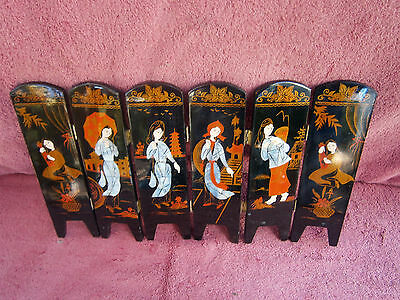 Vintage  Oriental  Chinese  Mini  6 Panel  Lacqued  Folding  Table  Screen