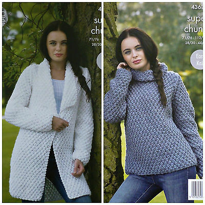 KNITTING PATTERN Ladies Easy Knit Long Sleeve Roll Neck Jumper Super Chunky 4363