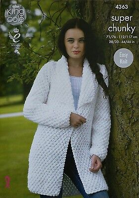 KNITTING PATTERN Ladies Easy Knit Long Sleeve Long Coat Collar Super Chunky 4363