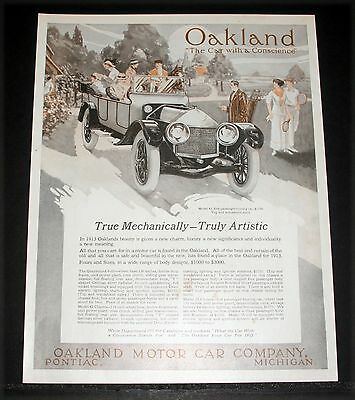 1913 OLD MAGAZINE PRINT AD, OAKLAND MOTOR CARs, THE CAR WITH A CONSCIENCE, ART!