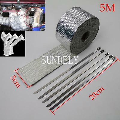 """2"""" x 5M Silver Exhaust Heat Wrap Manifold Downpipe High Temp Bandage Tape Roll"""