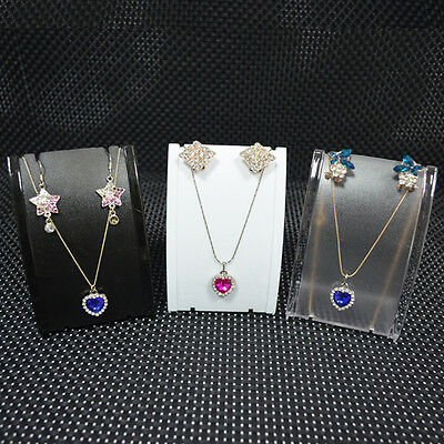 3pcs Mini Plastic Set Jewelry Display Necklace Mannequin Earrings Stand Holder
