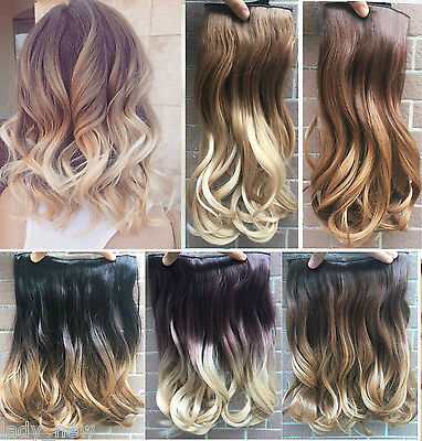 "17"" Short Ombre Hair Thick One Piece Half Head Dip Dyed Clip in Hair Extensions"