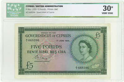 Cyprus 5 pounds  pick 36a dated 1955 ICG graded 30 Very Fine - Rare