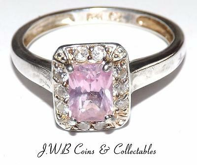 Elegant Ladies 925 Sterling Silver & Cubic Zirconia & Pink Stone Ring