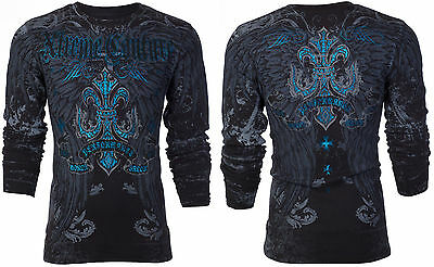 Xtreme Couture AFFLICTION Mens THERMAL T-Shirt SANDSTONE Wings Biker MMA $58