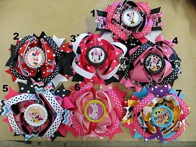 """4""""  Minnie Mouse Or Mickey And Gang Hair Bow W/ Bottlecap(7 Different Options)"""