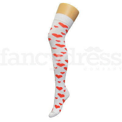 Heart White Red Love Valentine Over the Knee Socks Fancy Dress Queen of Hearts