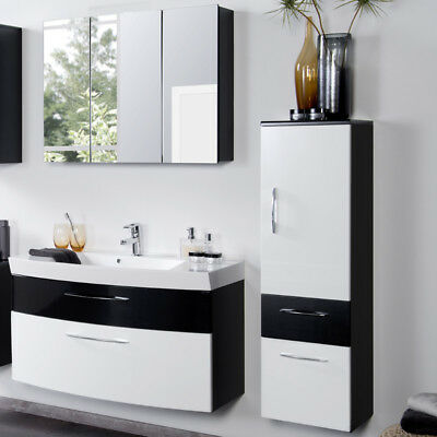 komplett badm bel set hochglanz anthrazit wei badezimmer. Black Bedroom Furniture Sets. Home Design Ideas