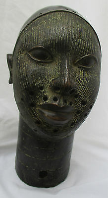 Large Vintage Tribal African Cast Benin Bronze Warrior Head Mask Nigeria