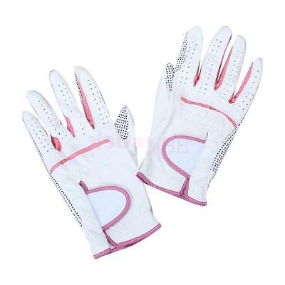 Women Left Right Hand Soft Leather Golf Gloves with Anti-skid Rubber Grains Palm