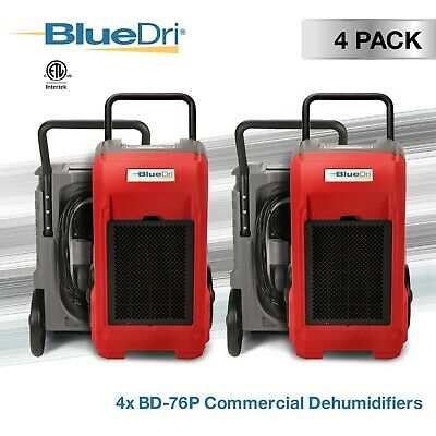 4 Pack BlueDri® BD-76P 150PPD Industrial Grade Commercial Dehumidifier, Red