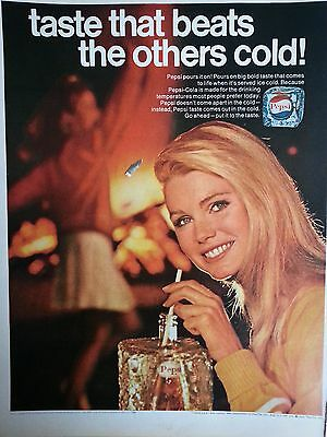 1968 Taste That Beats The Other Cold Pretty Blonde Straw Oriinal Print Ad