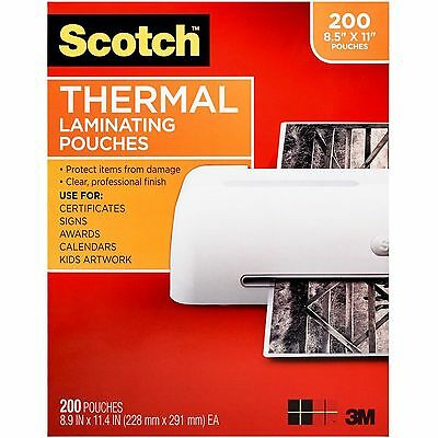 Scotch Thermal Laminating Pouches, Letter, 200ct.