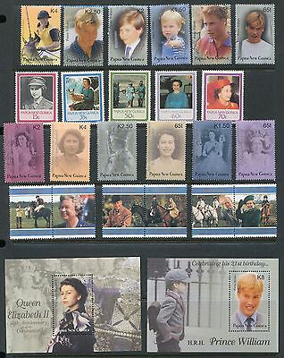PAPUA NEW GUINEA ROYALTY Queen Mother Diana William MNH+Sheets(37)PAP304