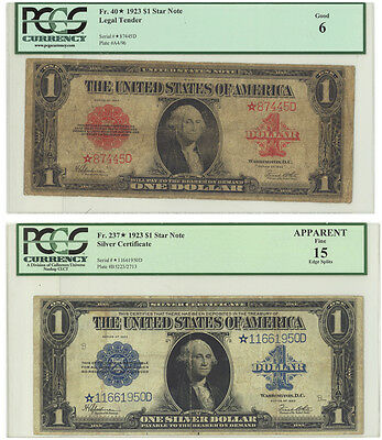 Fr 40* star note $1 1923 legal tender star note and Fr237* silver certificate $1