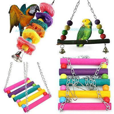 Cage Hammock Swing Hanging Chew Toy Pet Bird Parrot Parakeet Budgie Cockatiel #A