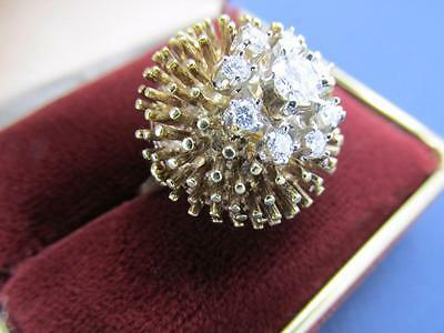 Unique Hand Made Design Vintage 14k Solid Yellow Gold And Diamond Cluster Ring