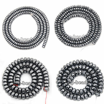 Natural Black Hematite Rondelle Beads 16'' 2mm 3mm 4mm 6mm 8mm Smooth Faceted
