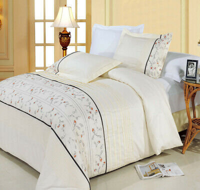 Anna 100% Cotton Duvet Cover 3-Piece Embroidered Duvet Cover Set