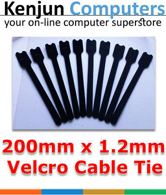 100pcs Hook Loop Reusable Cable Ties Brand New Black - 20cm Long