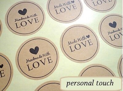 Round Paper Labels HAND MADE WITH LOVE Gift Food Kraft Craft Stickers 🔥