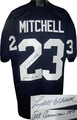 a67645d02e9 Lydell Mitchell signed Navy TB Custom Stitched FB Jersey All American 1971  JSA
