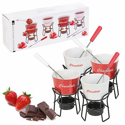 Ceramic Chocolate Fondue Set 4 Person 4 Stainless Steel Forks Kitchen Home Xmas