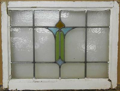 "MID SIZED OLD ENGLISH LEADED STAINED GLASS WINDOW Pretty Abstract 25"" x 19.25"""