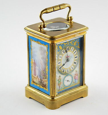 19th c. A.Dumas French gilt, handpainted, porcelain, brass carriage alarm clock
