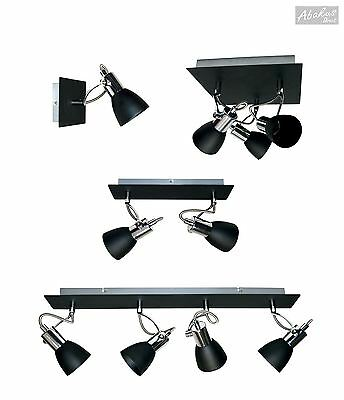 1 2 3 or 4 Way Spotlight Bar Fitting Ceiling Light GU10 in Matt Black & Chrome