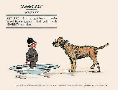 Border Terrier Charming Dog Greetings Note Card Comic Dog And Policeman