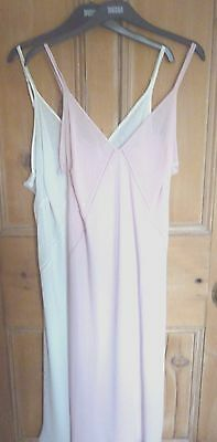 Luxury M&s 18 Or 22 Vintage Style Pink White Cling Resistant Full Slip Free Post
