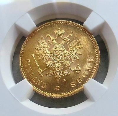 1911 L Gold Finland / Imperial Russia 20 Markkaa Ngc Mint State 64