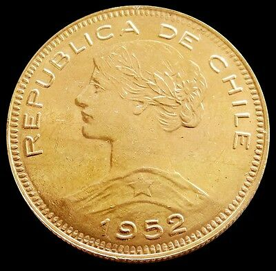 "1952 So Gold Chile 100 Pesos Coin Mint State Condition Santiago Mint ""read * """