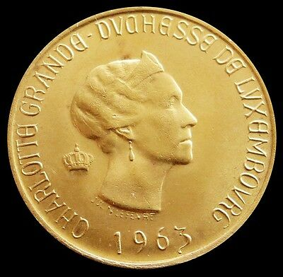 1963 Gold Luxembourg Grand Duchess Charlotte 20 Francs Coin Uncirculated