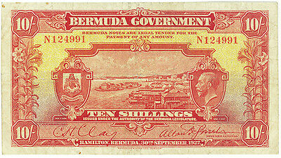 Bermuda 10 Shillings KGV dated 1927 Pick 4  VF