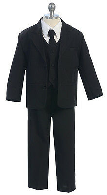 Boys Kids Children Formal Dress Suit Infant Toddler Size S-XL 2T-5T Gray Black