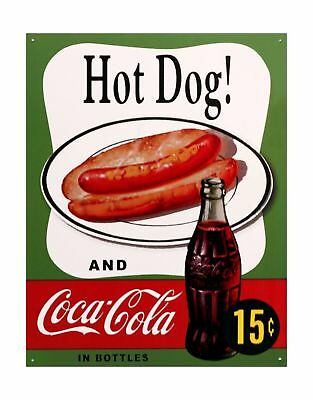 Hot Dog and Coca Cola Coke Combo 15 Cents Retro Vintage Tin Sign 13 by 16 inc...
