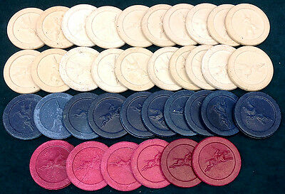 Set Of 35 Vintage Horse & Jockey Red White & Blue Poker Chips - Free Shipping