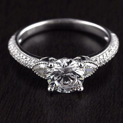 Women Solid 925 Sterling Silver CZ Main Solitaire 7mm Engagement Wedding Ring