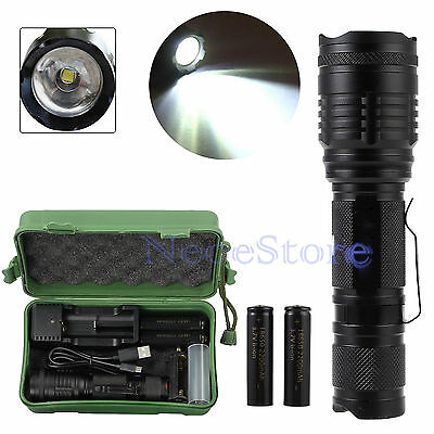 CREE T6 LED Zoomable 18650 Flashlight Rechargeable Clip Torch Light Lamp 5000LM