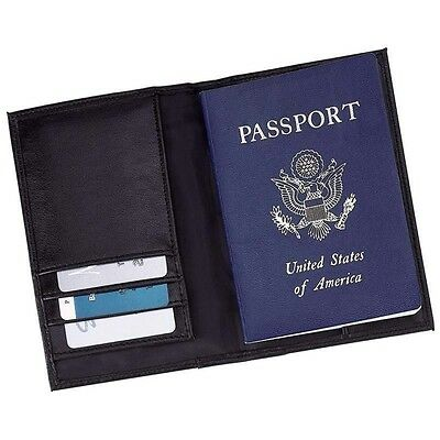 New Black Leather US Passport Cover ID Holder Wallet Credit Card Travel Case