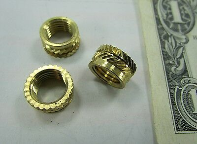 """25 Solid Brass Knurled Switch Mounting Nuts, 3/8-24 x 1/4"""" Wide Threaded Inserts"""
