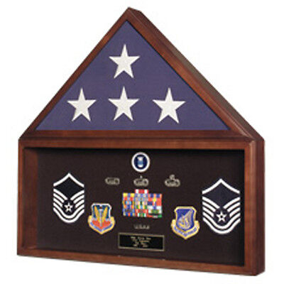 Navy Seals Flag Plus Military Medals Display Case - Wall Mount Made By Veterans