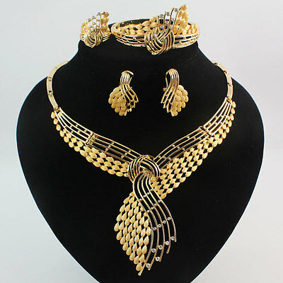 Fashion Women 18K Gold Plated Crystal Wedding Party Necklace Jewelry Set Gift